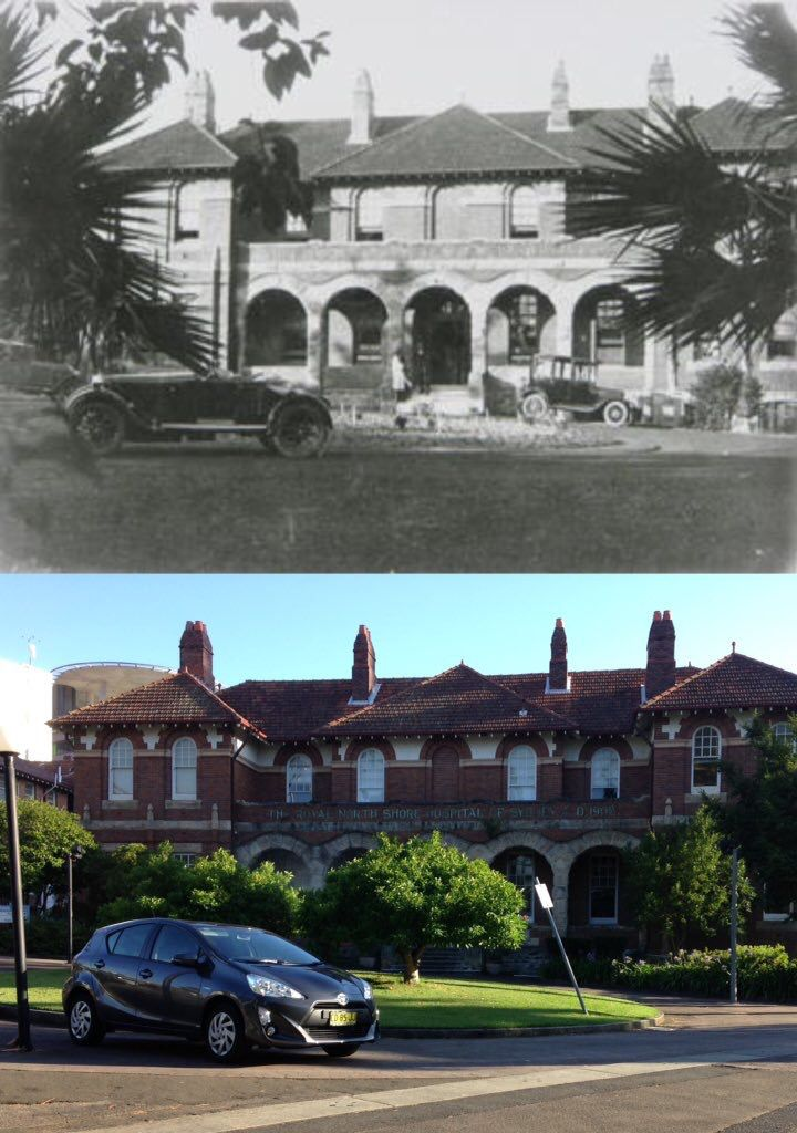 Old main entrance to Royal North Shore Hospital in c1920 and in 2016. [c1920 - Willoughby City>2016 - Phil Harvey. By Phil Harvey]