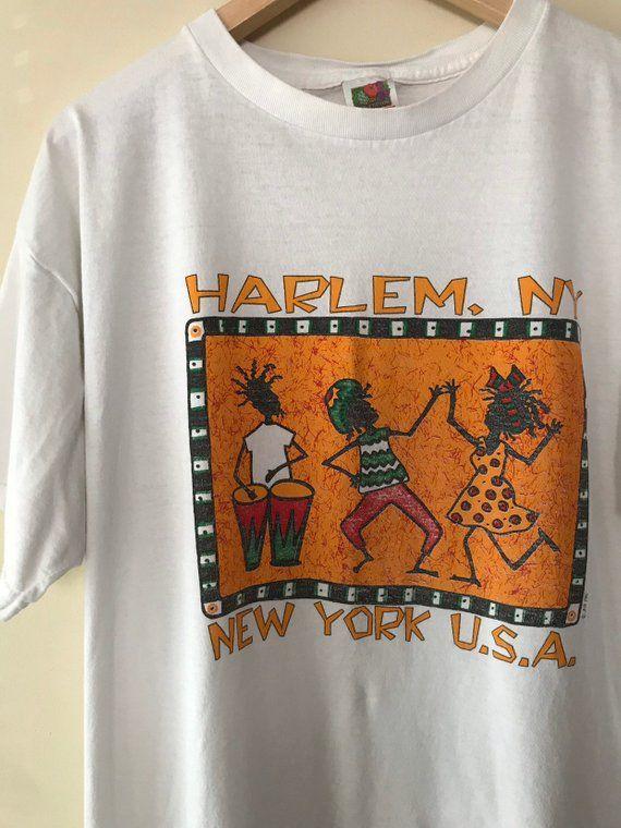 Vintage 90s Harlem New York Novelty Tourist Tribal T Shirt Mens