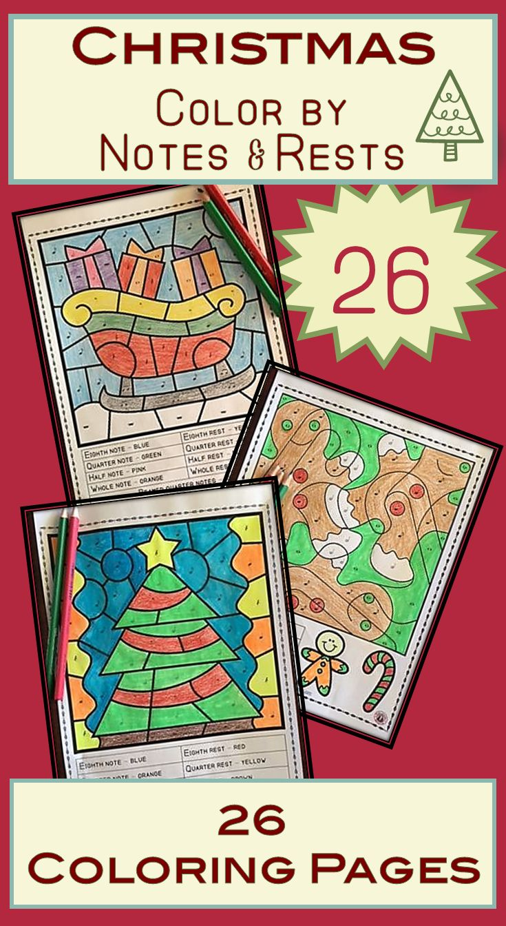 Christmas Music Lessons  |  26 Color by music notes sheets    |  #musiceducation
