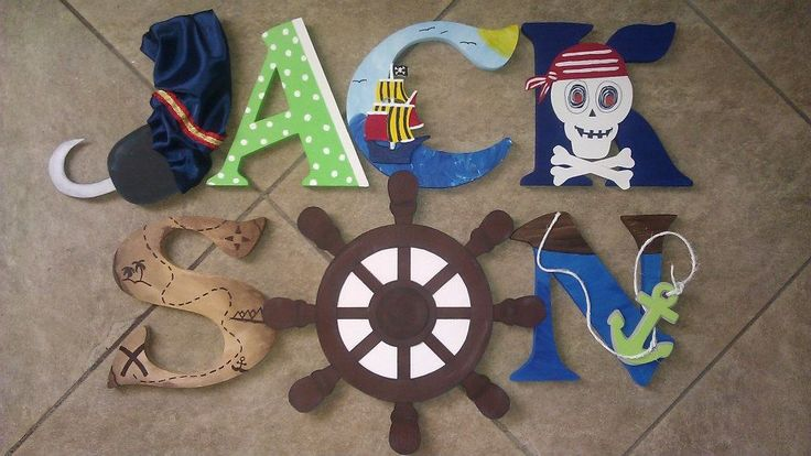Custom Wooden Letters, hand-painted and designed by Kid Murals by Dana Railey. Letters are $10-$12 per letter plus S&H. They are great as baby shower gifts, nursery décor, kids rooms, wooden décor, teacher gifts, hanging letters, and more!  Any theme, specific characters, pattern and color can be created!  Please contact Dana on FB at http://www.facebook.com/kidmuralsbydanarailey or www.scottsdalemurals.com  baby boy, nursery, boys room, nursery décor, pirate, hanging letters