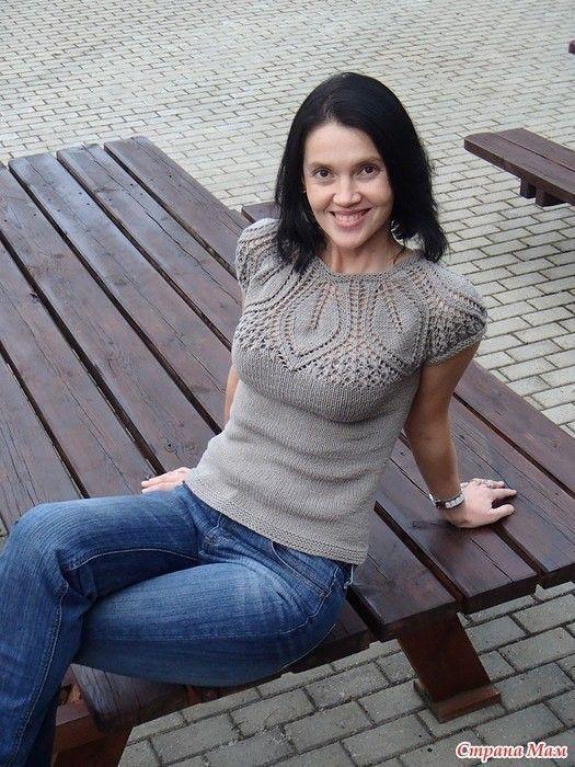 Топ с ажурной кокеткой (Вязание спицами) | Журнал Вдохновение Рукодельницы