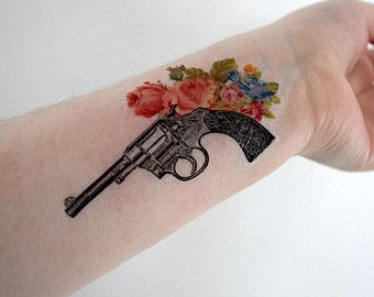 Temporary Tattoo - Gun, Fire arm, Floral, Flower, Vintage gun, Hand gun, Geekery