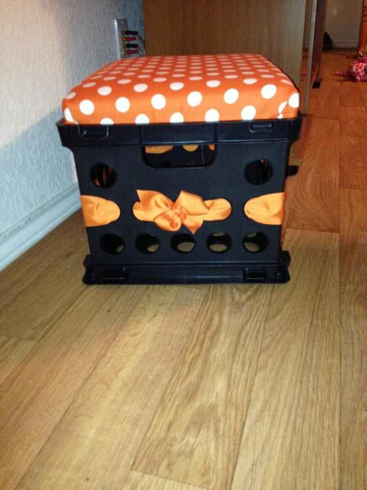 Milk Crate Seat/Storage for my classroom!  Colors match our school colors!