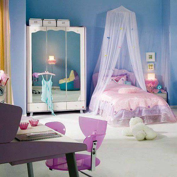 Jugendzimmer Einrichten Lila Bett Mit Baldachin Schrank Spiegel Rosa Stuhl
