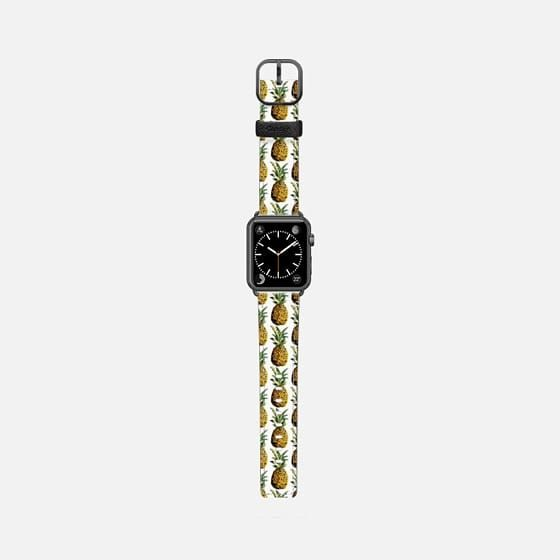 Casetify Apple Watch Band (42mm) Saffiano Leather Watch Band - Tropical Pineapple Pattern by Organic Saturation