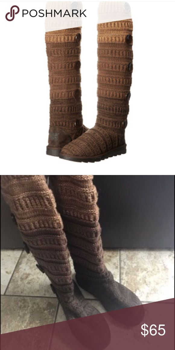 """Muk Luks Women's Miranda Boot NWOT, Brown Ombré The Miranda Sweater Boot is like your legs and feet curling up in bed with a thick blanket. Warm and cozy boot features a soft textile upper. Finished off with a man-made outsole. Textile, Imported, Synthetic sole Shaft measures approximately 15.25"""" from arch Heel measures approximately 1.25"""" Platform measures approximately 0.75"""" Boot opening measures approximately 10"""" around Tall fleece-lined boot in ombre marled knit with large outstep…"""
