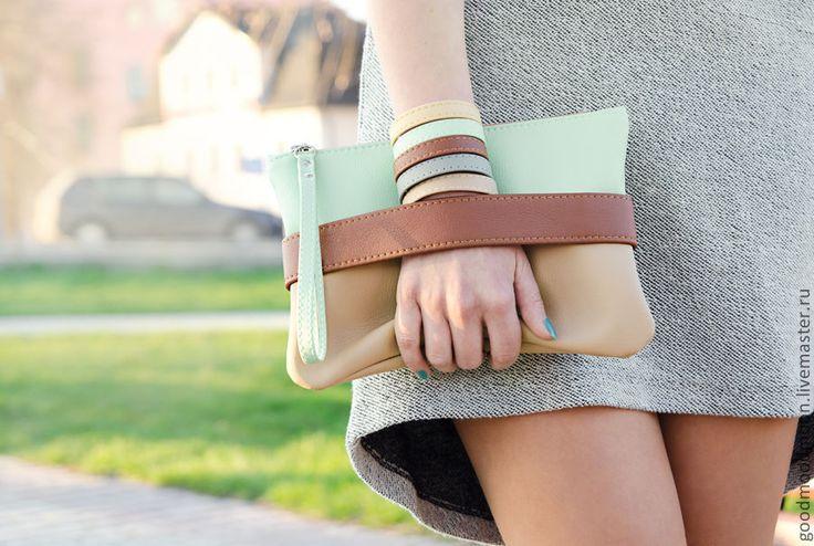 "Buy Clutch bag ""CarryMe"", mint purse, vegan leather, boho clutch - clutch, bag"