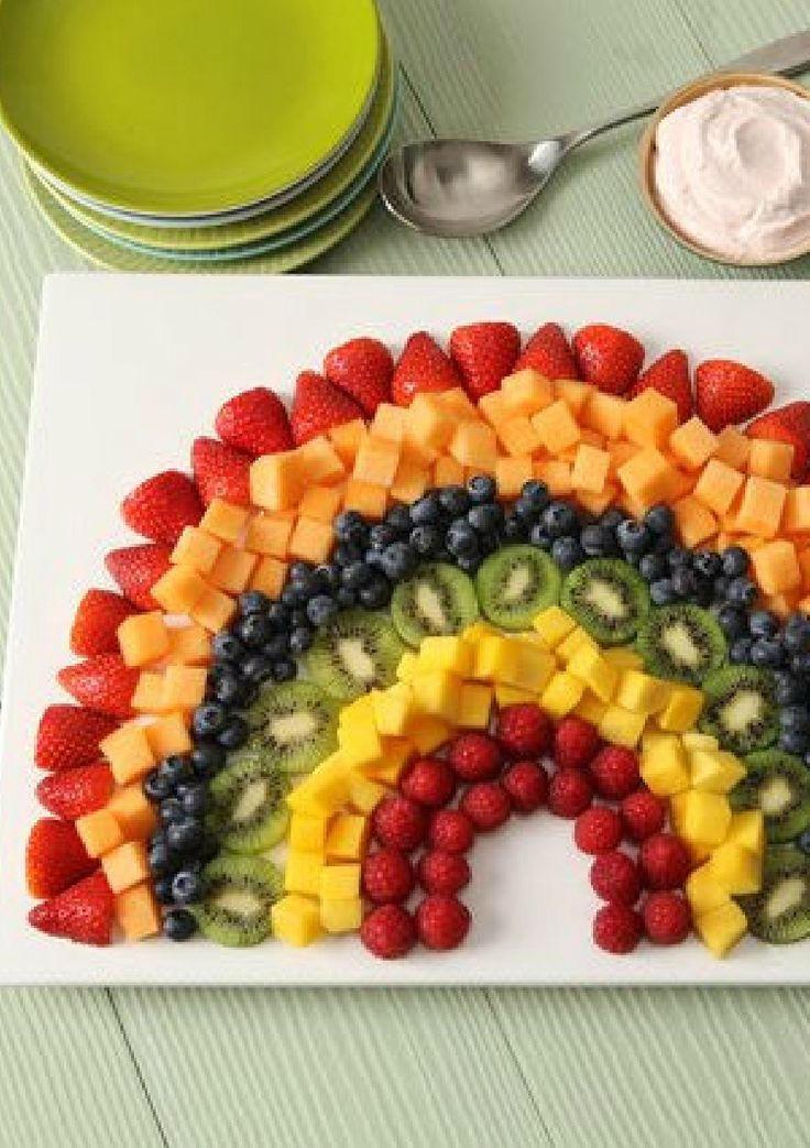 Rainbow Fruit Salad with Strawberry Dip – Your kids will enjoy this rainbow-shaped fruit arrangement, fully displaying their favorite colors in a delicious way. It's also great for serving at brunch!