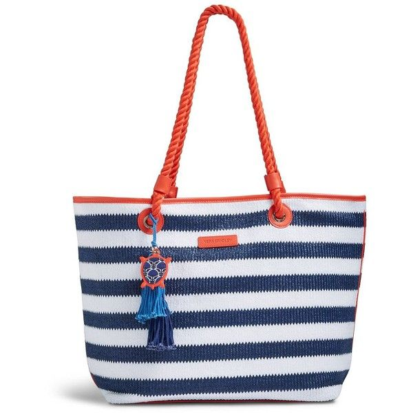 Vera Bradley Striped Beach Tote Bag ($36) ❤ liked on Polyvore featuring bags, handbags, tote bags, navy stripe, handbag tote, white tote bag, vera bradley purses, beach tote and straw beach tote