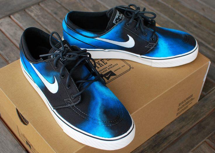 Hand painted Blue Smoke Nike Stefan Janoski Skate Shoes