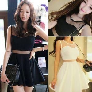 Women Sleeveless Net Yarn Mini Skirt Dress Night Club Vest Dress