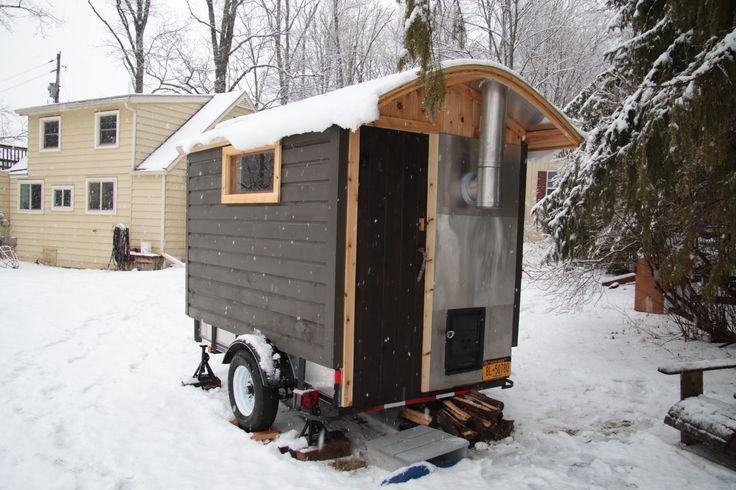wood  burning trailer sauna by Rob Licht Custom Saunas