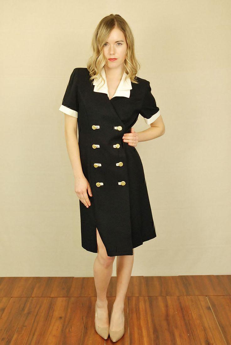 Vtg 80s Black White Sailor Nautical Mini Secretary Mini Party Dress Suit M | eBay