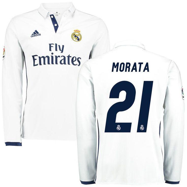Morata Real Madrid adidas 2016/17 Home Replica Long Sleeve Jersey - White