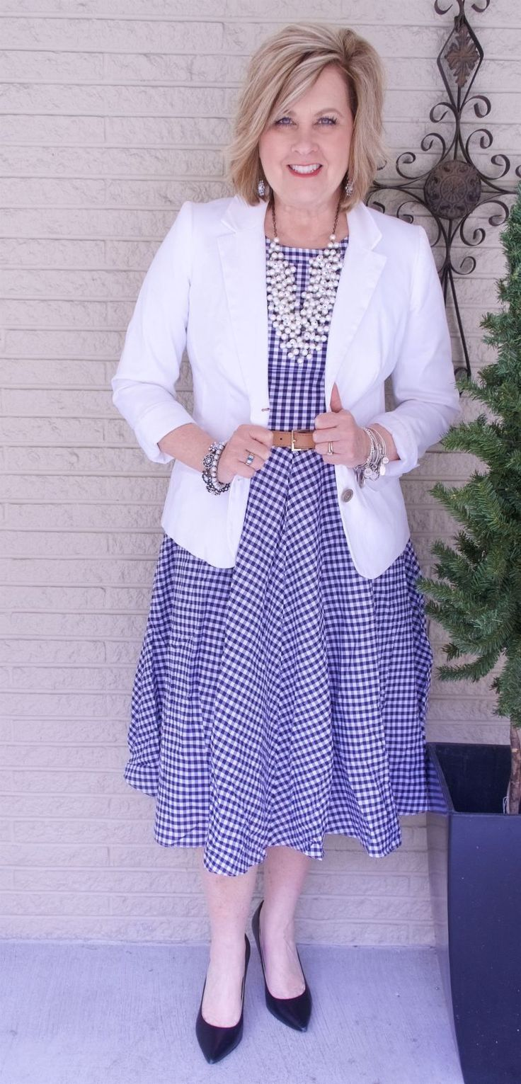 50 IS NOT OLD | FIT AND FLARE DRESS | FASHION OVER 40 | Gingham Print | Work Appropriate | Date Night Outfit | Fashion over 40 for the everyday woman #FashionOver50