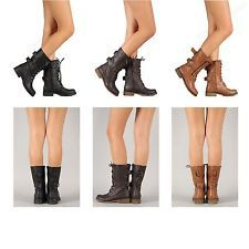 New Womens Military Combat Boot Lace Up Buckle Fashion Boots Shoe Size 5 - 11