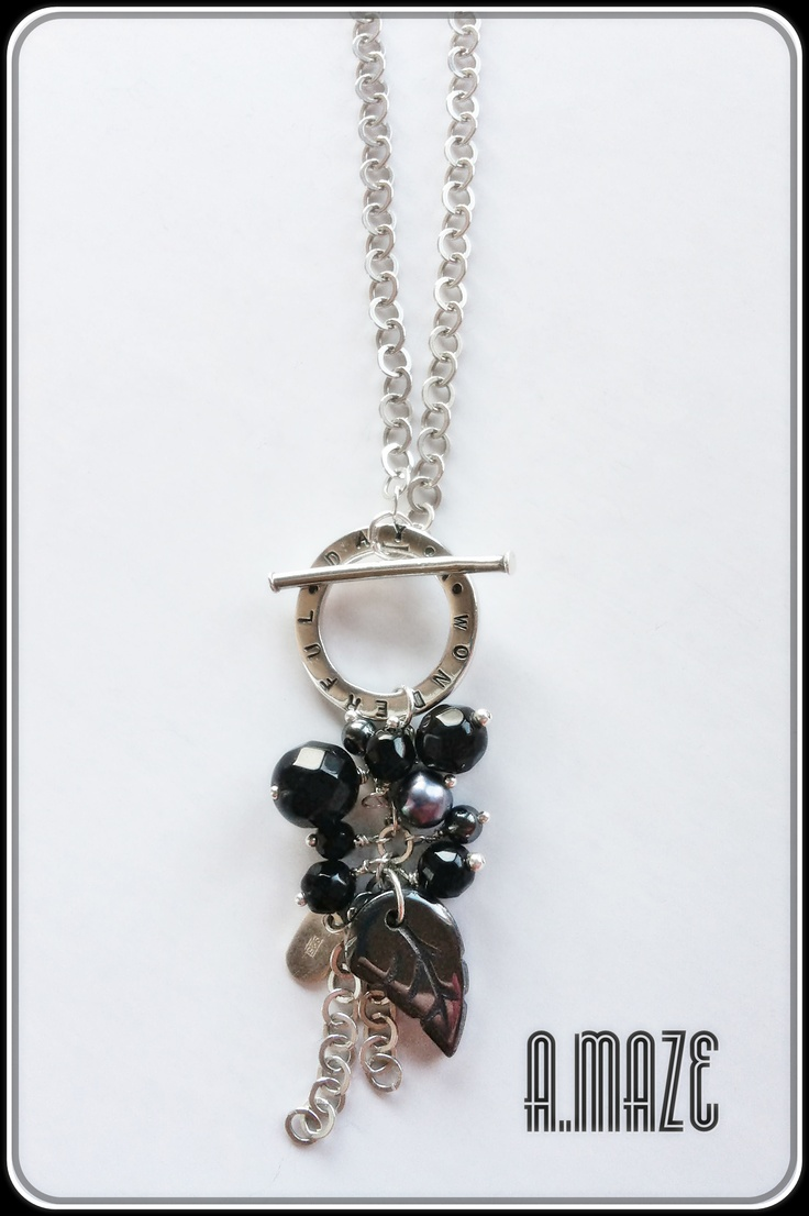 A wonderful day necklace, Sterling silver, onyx, haematite and fresh water pearls.