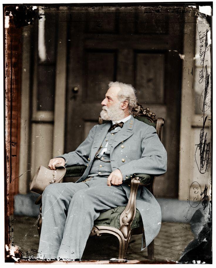 Robert E. Lee seated outside his Arlington home