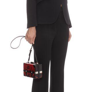 ALEXANDER MCQUEEN, Shoulder Bag, Rose Print Leather Large Caged Bag