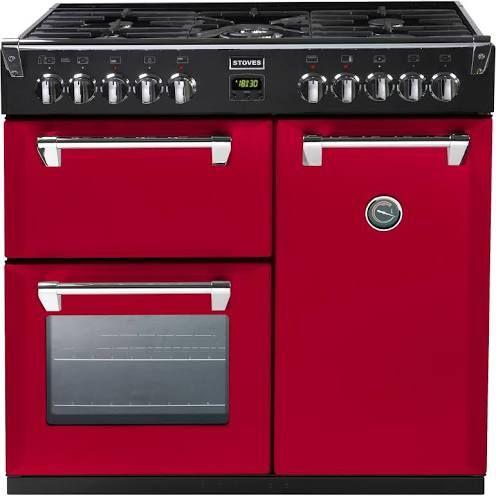 red 90cm range cooker
