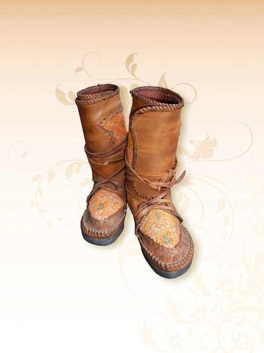 Hill tribe Leather moccasins by HolyCowproducts on Etsy, $260.00