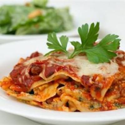Deep Dish Lasagna from Allrecipes.com. This yummy recipe is made from scratch