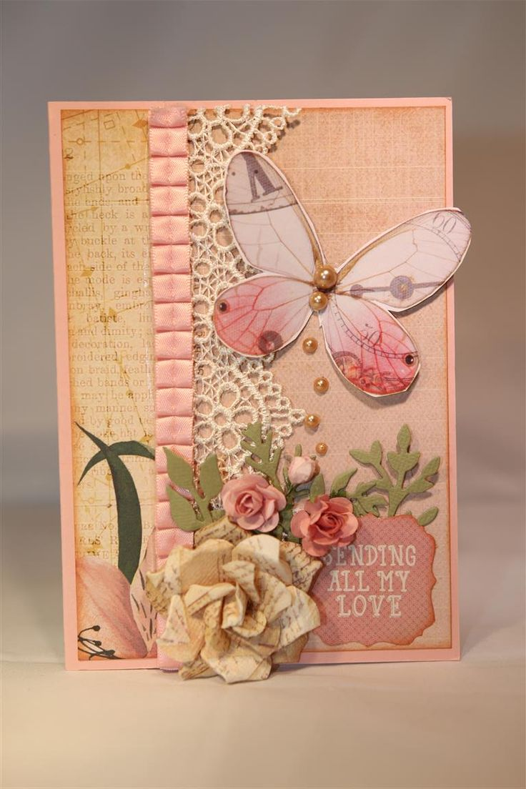 This one is a favourite because it has everything on it that I love…Lace, pleated ribbon ( stampin up), gorgeous prima flowers,flat backed pearls and mini foilage ( kaisercraft Die). The pape…