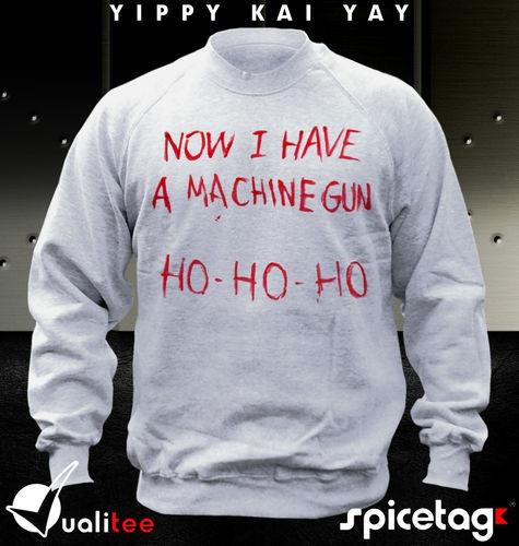 die hard t shirt christmas jumper film machine gun john