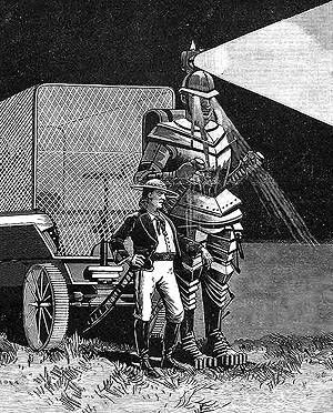 After Frank Reade Jr. assembled his improved version of his father's Steam Man, he turned to producing a mechanical man that would be powered by electricity. The result was the Electric Man, shown above and at right, during a trial run.  In 1886, Reade Jr. traveled with this metal giant on a world tour similar to Archibald Campion's journey with Boilerplate.
