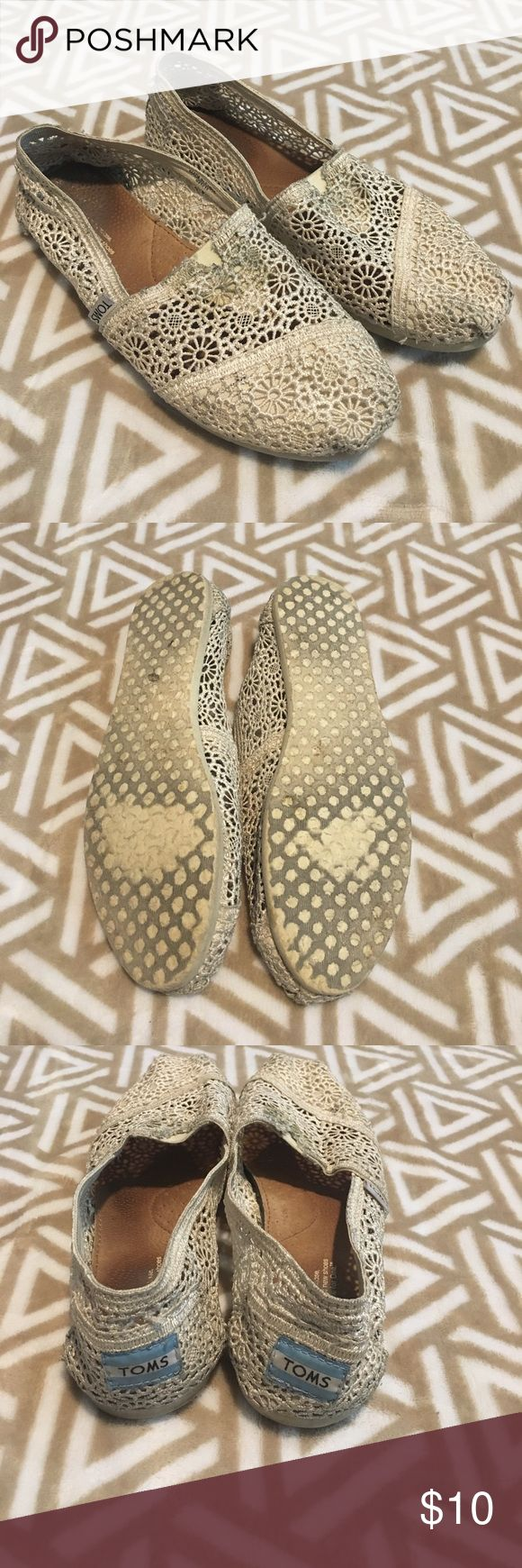 Cream lace Toms Cute cream colored lace Toms! Could be cleaned TOMS Shoes Flats & Loafers