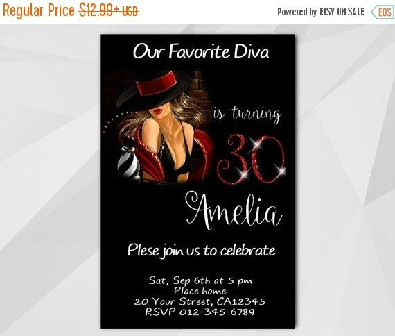 30th Diva Chalkboard Birthday Invitation by Digi Invites https://www.etsy.com/shop/DigiInvites/       **Text can be changed for any occasion  **This listing is for a customized printable invitation in digital format - I customize it - You print it!  **File Type: High Resolution 300 DPI - JPG or PDF – 4x6 or 5x7   **All wording can be changed and added   **No printed materials will be shipped. - Files are delivered electronically through Etsy convo or email.  **NON-editable file - can't edit…
