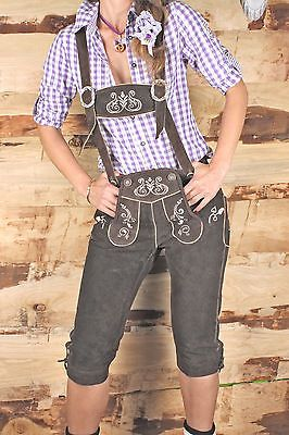 Lederhosen Women's Knee Breeches Brown Bavaria Oktoberfest Cow Leather US 2-14