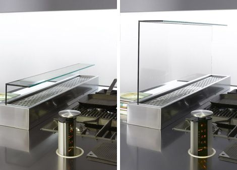 Arclinea kitchen italia glass divider and extractor fan in one glass prevents the splats and - Kitchen island extractor fans ...