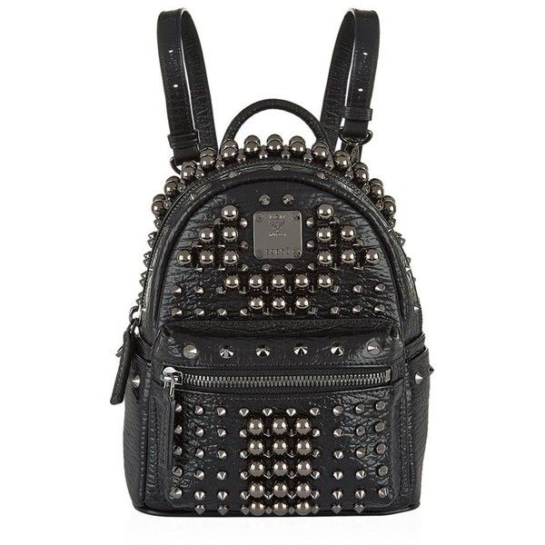 MCM Stark Pearl Stud Backpack (12.110 HRK) ❤ liked on Polyvore featuring bags, backpacks, studded backpack, day pack backpack, mcm bags, daypack bag and pearl bag