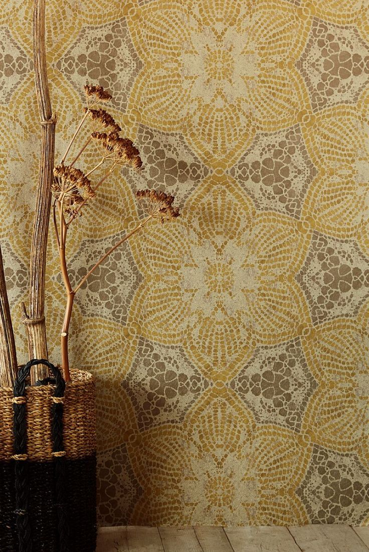 Boho Flower By Eijffinger Ochre Mural 376095 In 2020 Grey