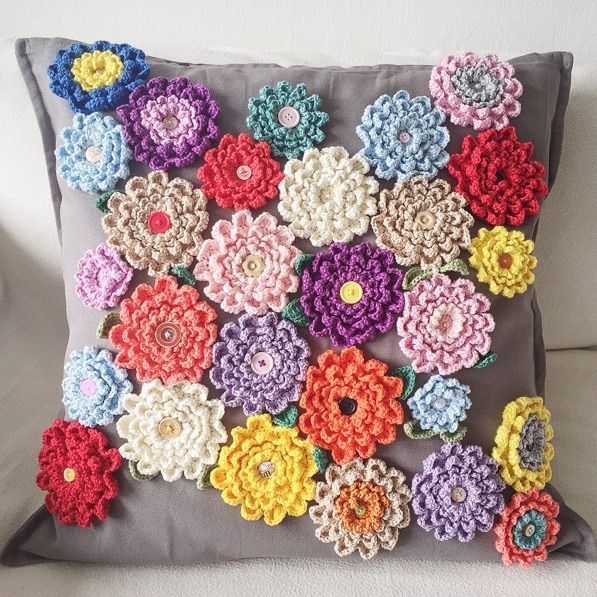 Pillow Decorated with Crochet Never-ending Wildflower