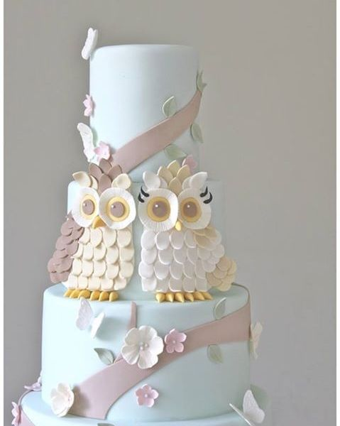 Winding Tree Owls-themed Wedding Cake - love the Tiffany blue instead of the traditional white for this cake. Rather like they are sitting against a blue sky. Very pretty.