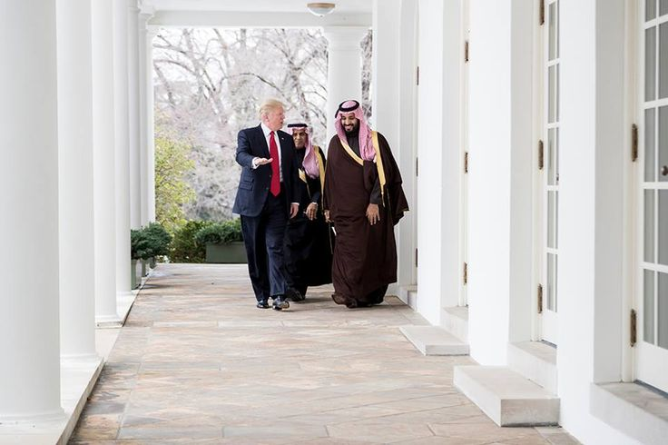 President Donald Trump walks with Mohammed bin Salman bin Abdulaziz Al Saud, Deputy Crown Prince and Minister of Defense of the Kingdom of Saudi Arabia, along the West Colonnade of the White House, Tuesday, March 14, 2017. (Official White House Photo by Shealah Craighead)