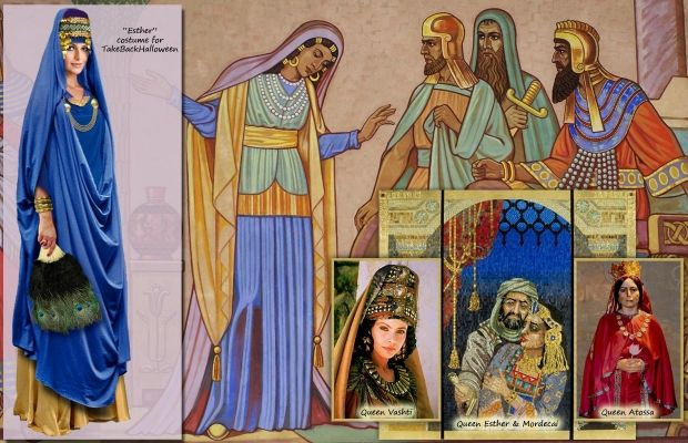 Esther (5th century BCE) became the wife of Persian King Ahasuerus. Esther's predecessor was deposed for disobeying the king's drunken whim; Esther herself risks execution merely by approaching the king unbidden. Ahasuerus approves his advisor's plan to exterminate the Jews in the Persian Empire. Esther—whose own Jewish background had been a secret until then—brilliantly maneuvered the king into reversing his decree and saving the Jews. Her victory is commemorated every year at Purim.
