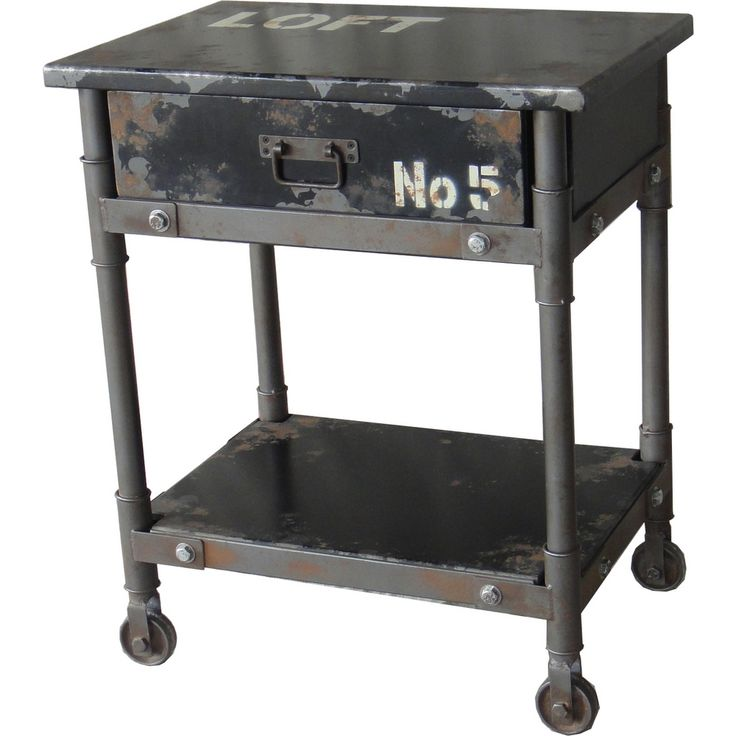 Moeu0027s Home Collection Soho 1 Drawer Cabinet / Accent Table In Distressed  Black Iron W/ Industrial Graphics