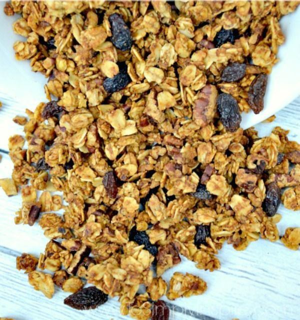 """This easy Pumpkin Granola Recipe is perfect to add a little """"Fall"""" to your yogurt parfait or to have as a healthy snack."""