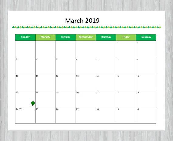 March 2019 Calendar Printable And Editable Seasonal Monthly