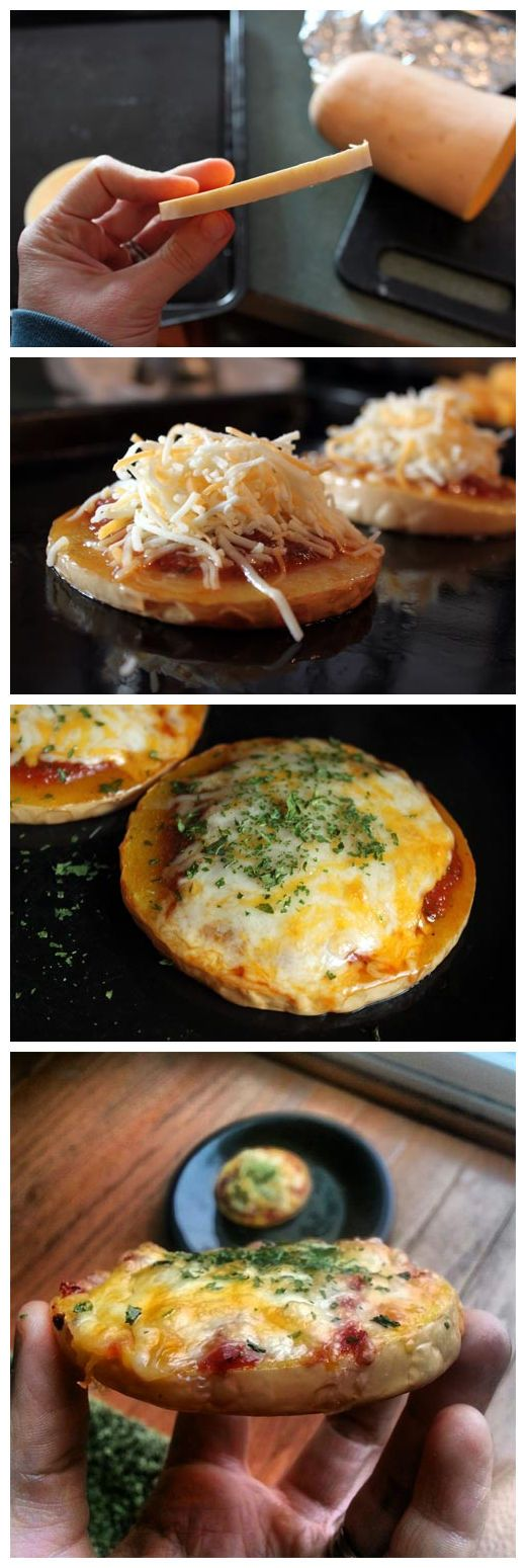 "Butternut Squash Pizza: Broil 2 round slices of butternut squash 1/2"" thick peeled or unpeeled for 10 min. Turn over. Top with 1/4 cup tomato or pizza sauce or tomato paste with herb,, 1 oz fancy shredded cheese ( mexican cheese blend or mozzarella), & sprinkle of parsley. Broil 2-3 min til cheese melts. gm"
