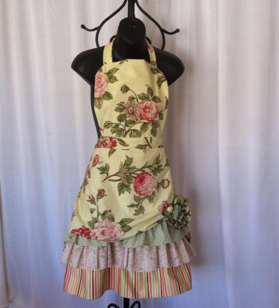 Womans Apron in Retro Style with Floral Print and Contrasting Ruffles and Lace by KozyKitchens on Etsy