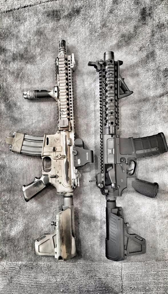 A pair of tastefully built AR-15 pistols. Looks expensive. #ar15 #ar15pistol