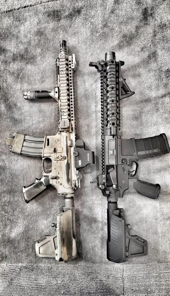 A pair of tastefully built AR-15 pistols. Looks expensive. #ar15 #ar15pistol