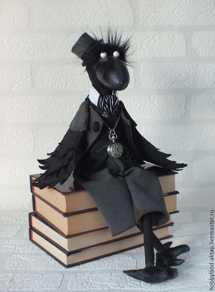 Купить Ворон Карл - чёрно-белый, текстильная игрушка, интерьерная игрушка, птица, ворон