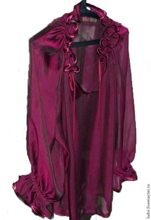 Купить Блузка шелковая, эксклюзив Фиолетовый закат - фиолетовый, единственный экземпляр, эксклюзив