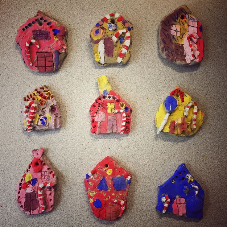 Year 1 clay tile gingerbread houses