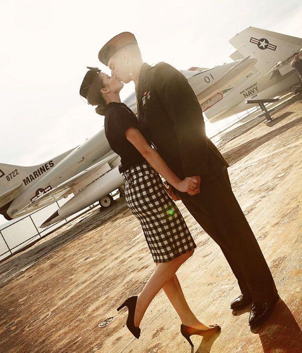 Gorgeous vintage engagement photos at the USS Lexington #military